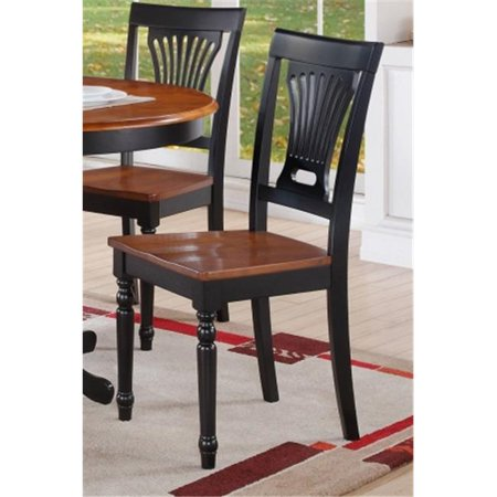 East West Furniture PVC-BLK-W Plainville Dining Chair with Wood Seat in Black & Cherry Finish Pack of 2