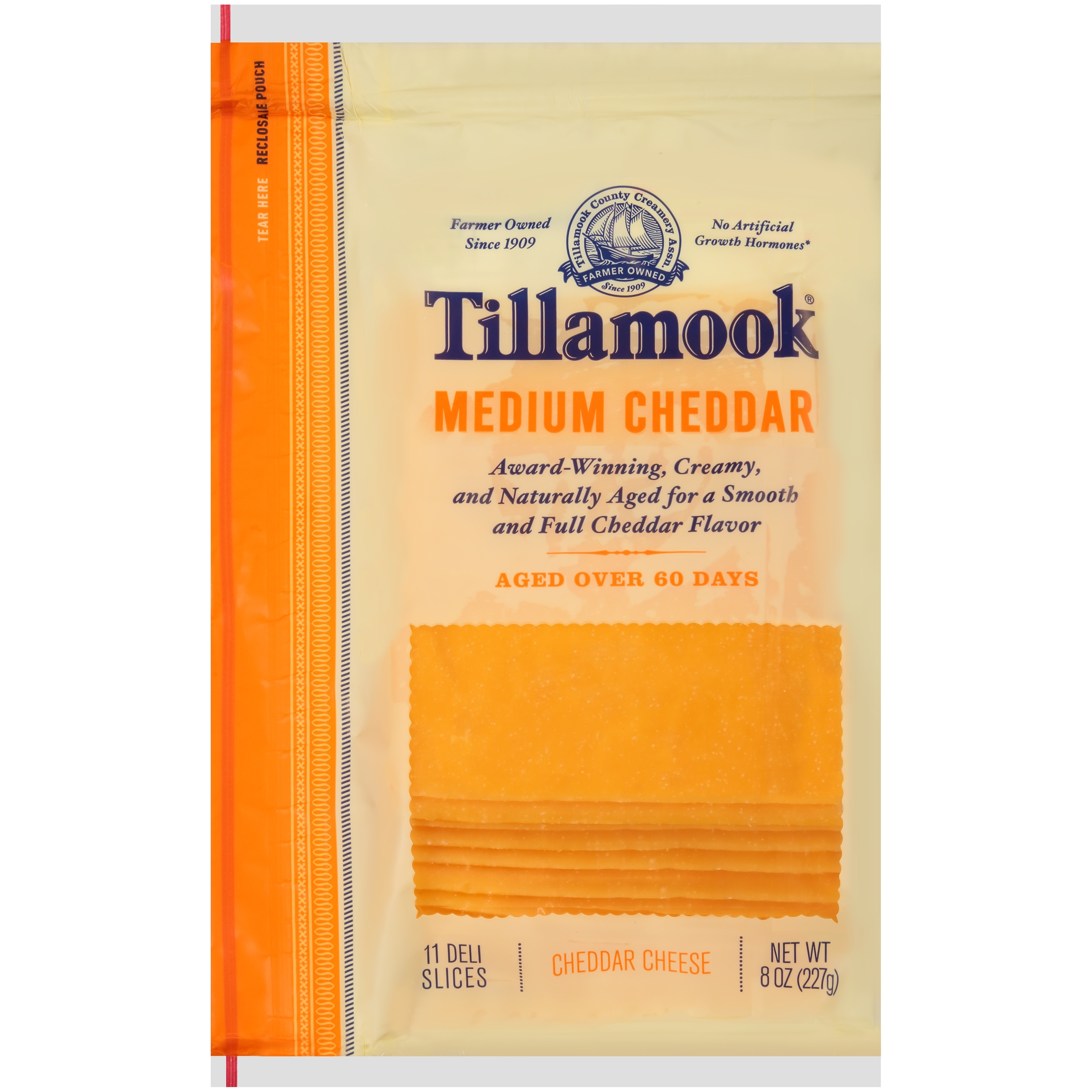 Tillamook® Natural Medium Cheddar Cheese Deli Slices 11 ct Bag