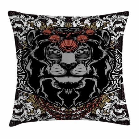 King Throw Pillow Cushion Cover, Forest Jungle Emperor Safari Animal Lion with Medieval Design Frame, Decorative Square Accent Pillow Case, 18 X 18 Inches, Grey White Red and Black, by Ambesonne (Lion Medieval)
