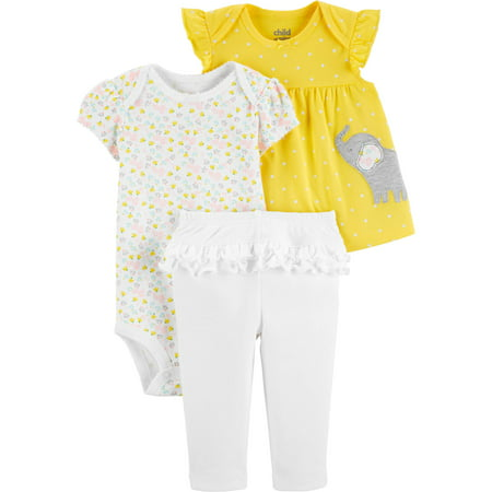 Short Sleeve T-Shirt, Bodysuit, and Pants Outfit Set, 3 pc set (Baby Girls) (Three Girls And A Baby)