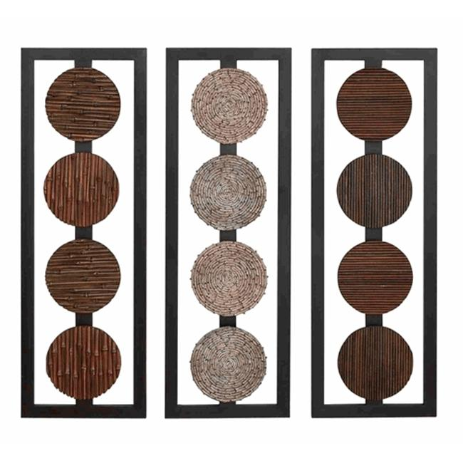 Benzara 68212 35 in. Wood Wall Panel Set of 3 Asst 35 in. H  12 in. W