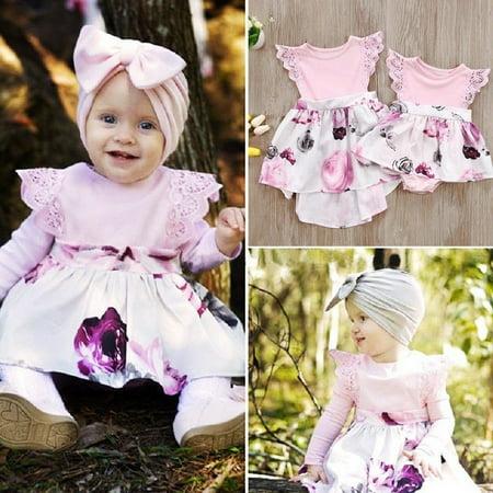 23fafaf3190ff Cute Little Sister Kids Girls Lace Floral Dress Sundress Newborn Baby Girl