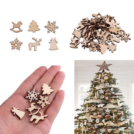 Diy Wooden Table (Micelec 50Pcs Wooden DIY Christmas Tree Snowflake Star Hanging Ornaments Table)