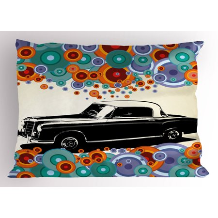 Vintage Pillow Sham Retro Car Concept Art Poster With Colorful Circles Artistic Drawing Illustration, Decorative Standard Size Printed Pillowcase, 26 X 20 Inches, Multicolor, by (Concept Car Poster)