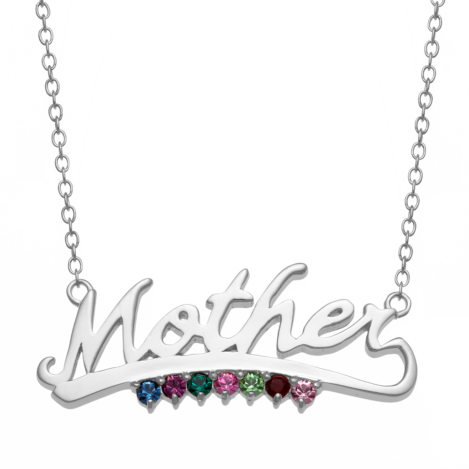 "Family Jewelry Personalized Sterling Silver Script Mother with Birthstone Necklace, 16"" with 2"" Extender"