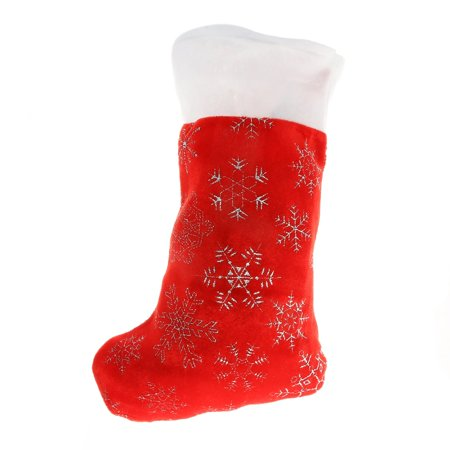 Kids Christmas Stocking Holiday Decor Sparkly Snowflakes White Cuff - 16.5in](Kids Stocking)
