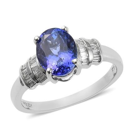 RHAPSODY 950 Platinum AAAA Premium Blue Tanzanite Diamond Baguette Bridal Anniversary Ring Jewelry for Women Ct 2.1