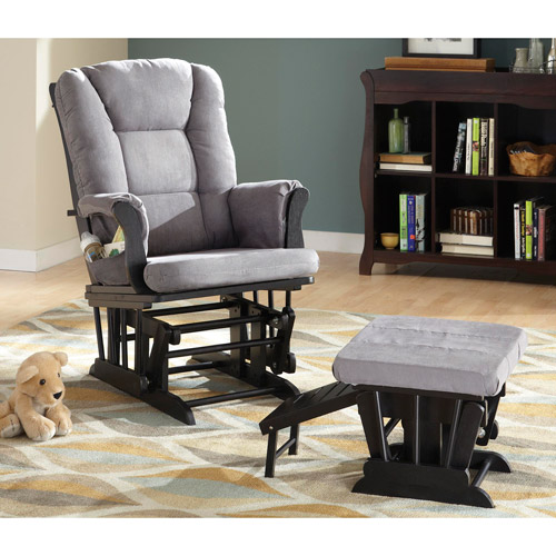 Status Veneto Glider and Nursing Stool Ottoman, Black Finish with Grey Cushions