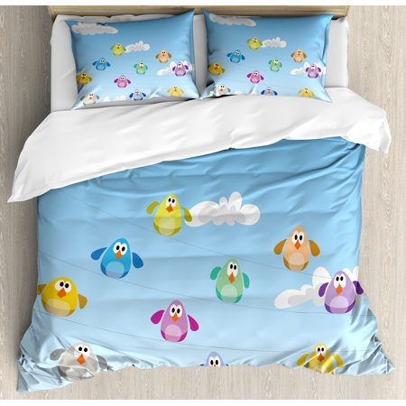 Nursery Queen Size Duvet Cover Set, Flock of Colorful Birds Sitting on Wires Fluffy Clouds Blue Sky Urban Cartoon, Decorative 3 Piece Bedding Set with 2 Pillow Shams, Blue Multicolor, by Ambesonne](Fluffy Boots)