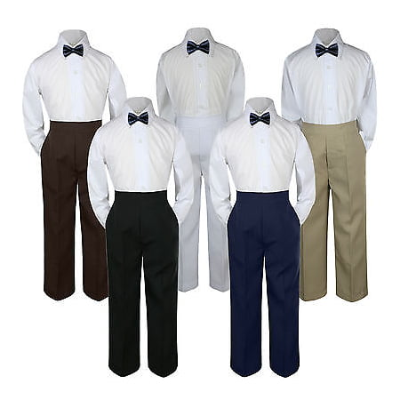 - 3pc Navy Blue Bow Tie Suit Shirt Pants Set Baby Boy Toddler Kid Uniform S-7