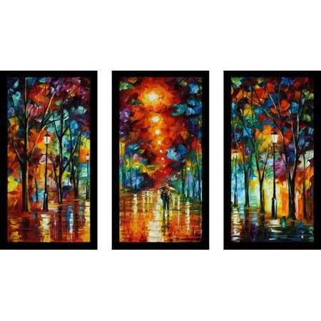 Picture Perfect International Night Park By Leonid Afremov 3 Piece Framed Painting Print Set