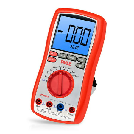 Pyle PDMT38 Digital LCD Multimeter, AC, DC, Volt, Current, Resistance and Range with Rubber Case, Test Leads and Stand