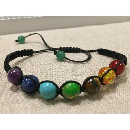 Royal Blue Lapis Bracelet (Baltic Essentials Adjustable Chakra Balance Bracelet Yoga Teen Adult 6 - 9 inch Bracelet Rainbow Natural Stone Wisdom Amethyst Lapis)