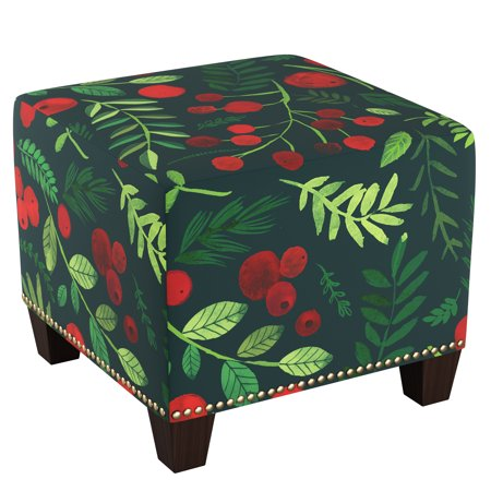 Skyline Furniture Square Nail Button Ottoman in Holly -