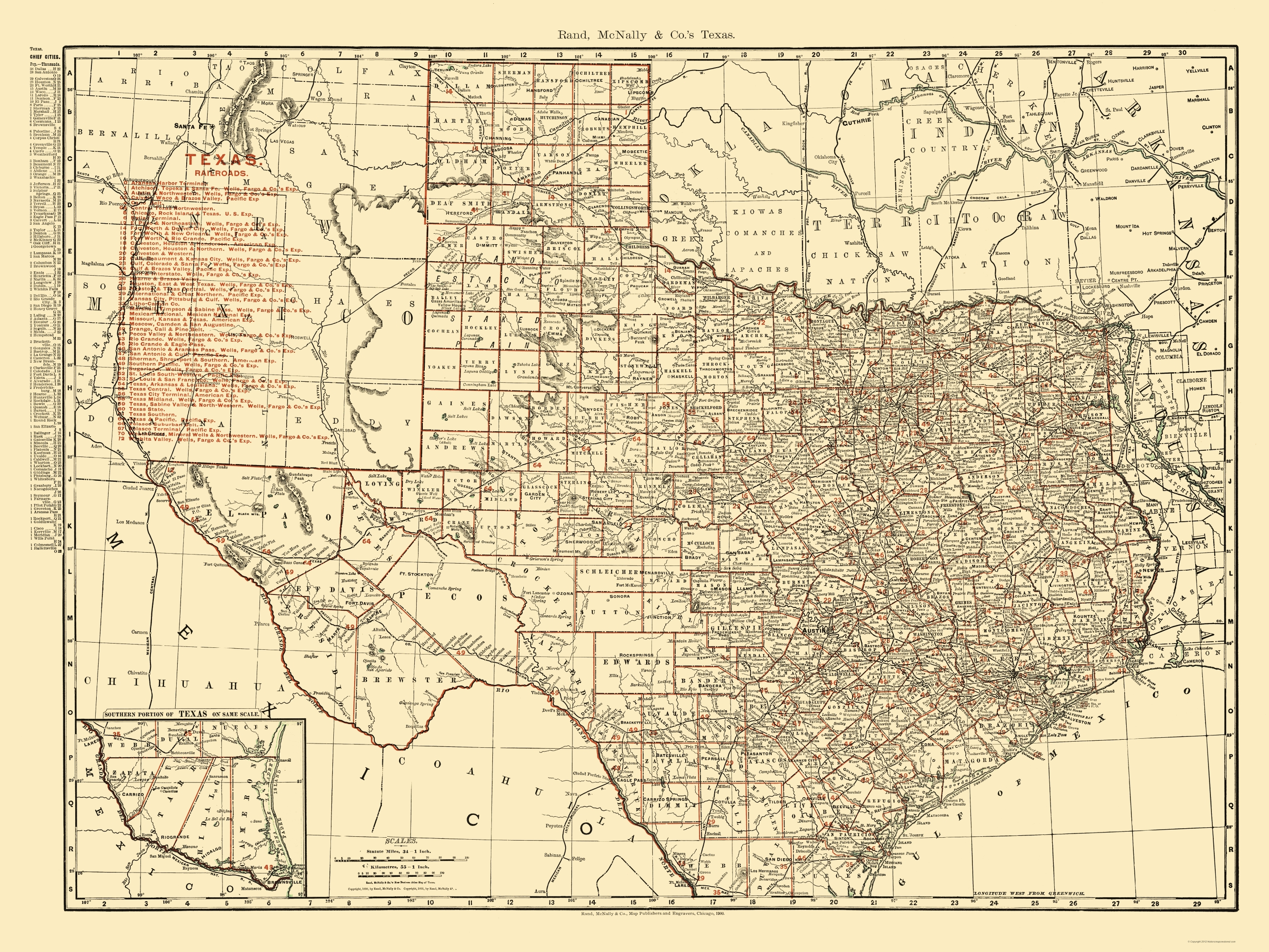 Map Of America 1900.Old Railroad Map Texas State Railroads Rand Mcnally 1900 23 X