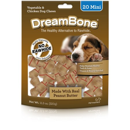 DreamBone Peanut Butter Mini Dog Chews, 20-Count (Peanut Butter Dog Bones)