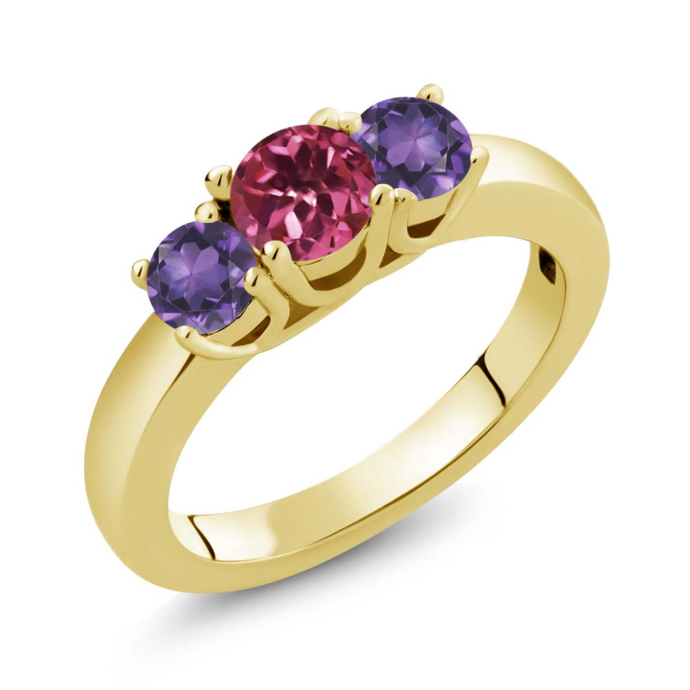 0.98 Ct Round Pink Tourmaline Purple Amethyst 18K Yellow Gold Ring by