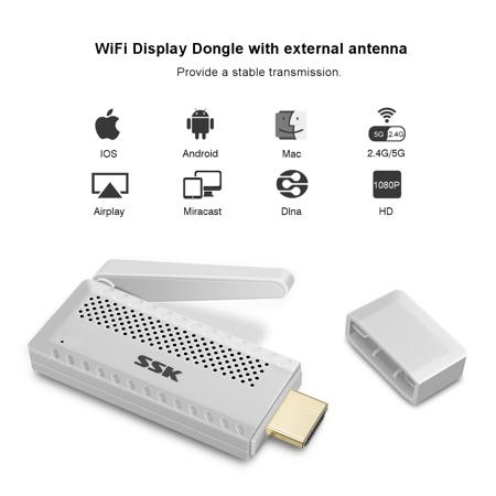 HD 1080P Wireless Receiver HD MI Air Play AV DLNA Miracast WiFi Display TV Dongle (Mi Tv)