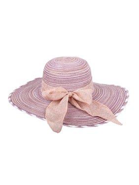 Chic Headwear Floppy Sun Paper Braid Hat w/ Ribbon - Purple