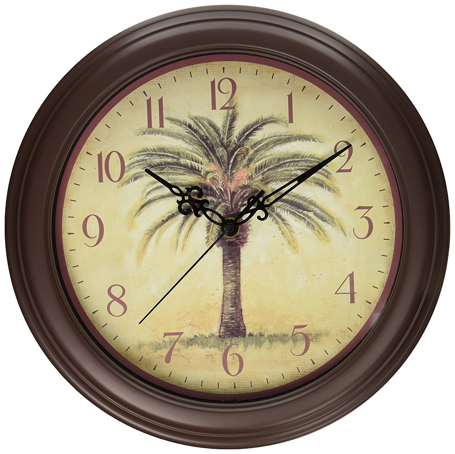 "Cabana 12"" Silent Sweep Resin Palm Tree Wall Clock, 912In..."