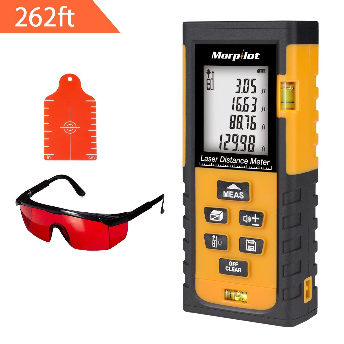 262ft Laser Measure - Morpilot Laser Tape Measure with Target Plate & Enhancing Glasses, Laser Measuring Device with Pythagorean Mode, Measure Distance, Area, Volume Calculation