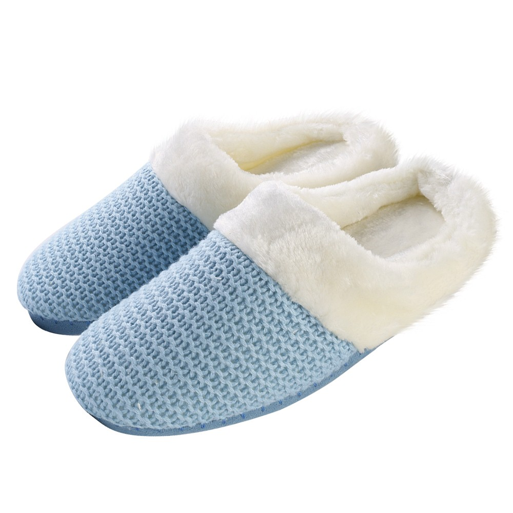 Women's Cozy Woven Knit Soft Plush Slippers with No-Slip Rubber Sole For Indoor, Outdoor, Spa Use (Blue)