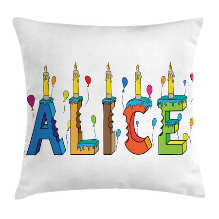 Alice Throw Pillow Cushion Cover, Colorful Girl Name with Balloons Bitten Letters Candles Cartoon Style Illustration, Decorative Square Accent Pillow Case, 20 X 20 Inches, Multicolor, by Ambesonne