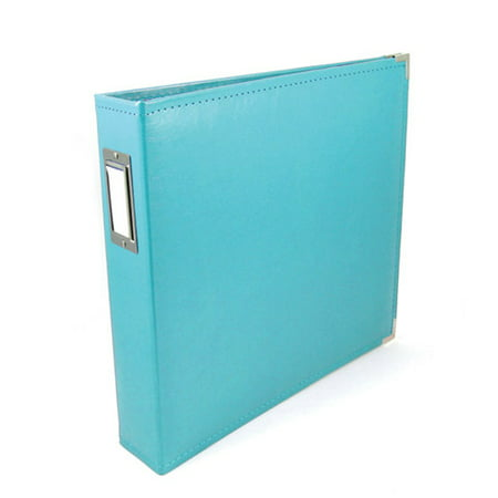 Scrapbook Classic Leather 3 Ring Album Aqua - Denim Scrapbooking Scrapbook