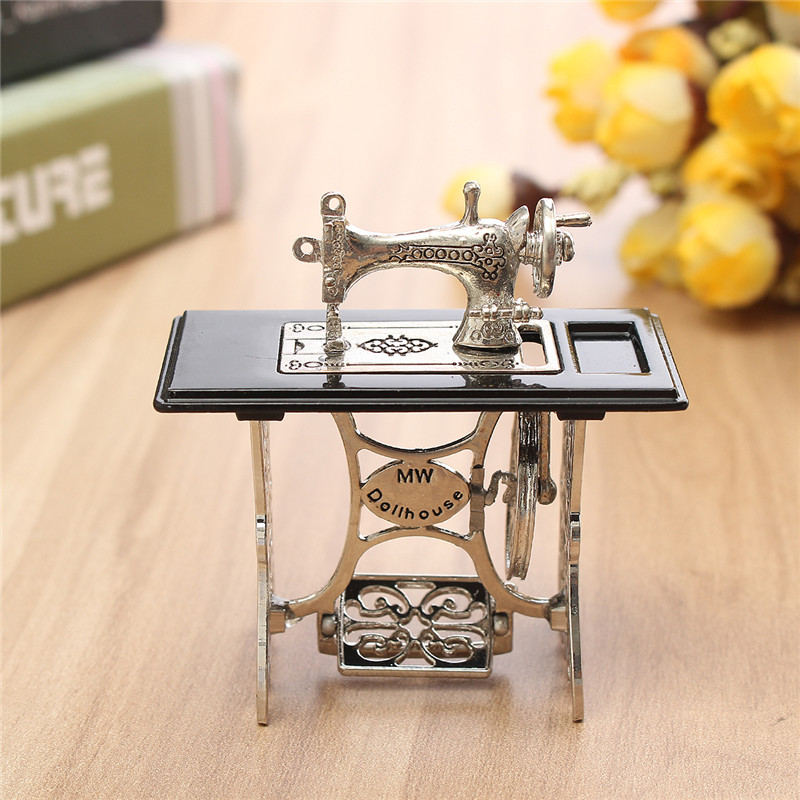 "Dollhouse Miniature Vintage Metal Black Sewing Machine 1/""Height"