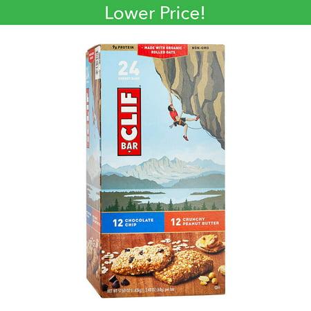 Clif Crunch Variety Pack 2.4 oz 12-Chocolate Chip, 12-Crunchy Peanut