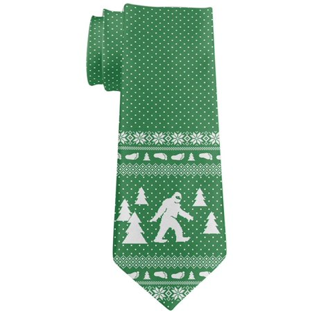 Ugly Christmas Sweater Sasquatch Bigfoot All Over Neck Tie](Halloween's Over Christmas Meme)