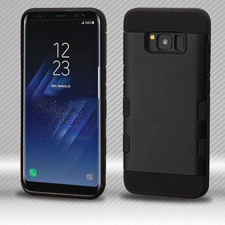 Samsung Galaxy S8+ Case, Samsung Galaxy S8 Plus Case, by Insten TUFF Trooper Hybrid Shock Absorbing Hard PC/TPU Case Cover For Samsung Galaxy S8+ S8 Plus - Black