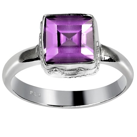 Orchid Jewelry Mfg Inc Amethyst Square Shape Sterling Silver Ring By Orchid Jewelry