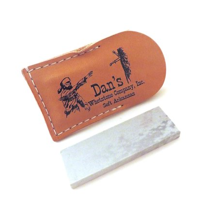 Genuine Arkansas Soft (Medium) Pocket Knife Sharpening Stone Whetstone 3' x 1' x 1/4' in Leather Pouch MAP-13A-L