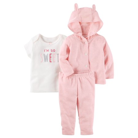 Carters Baby Girls 3-Piece Heathered Little Jacket Set Pink
