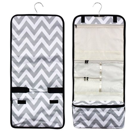Travel Hanging Cosmetic Carry Bag by Zodaca Toiletry Wash Organizer Storage - Gray/White