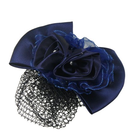 Navy Blue Ployester Floral Bowknot Detail Snood Hairclip