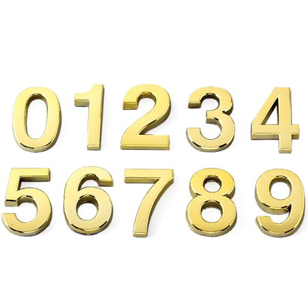 (Pack of 2) Aspire 4 inches Door, House, Hotel Number, Address Sign, Digit (0-9), with Self-Adhesive Backing-Gold-9 House Door Signs