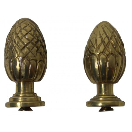 Brass Stair Carpet Rod Ball Finial Pineapple Tip Pair | Renovators - Polished Brass Ball Tip