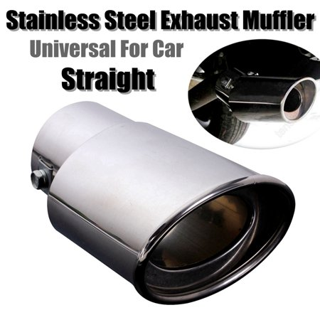 """AUDEW 2.5"""" Inlet Chrome Car Stainless Steel Rear Exhaust Muffler Pipe Tail Tip Oval Universal"""