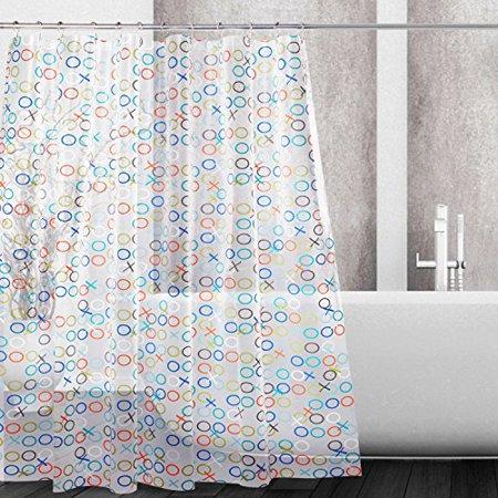 Kilokelvin PEVA Shower Curtain Mildew Resistant Waterproof Water Repellent Antibacterial With 12 Metal Rings 72x72 Inches XO Circle