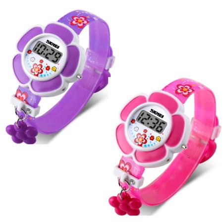 - ON SALE - Flower Girl Digital Watch in Pink or Purple - Kids Watch Purple