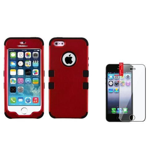 Insten Titanium Red/Black TUFF Hybrid Phone Hard Case Cover For Apple iPhone SE 5 5s+Film Protector