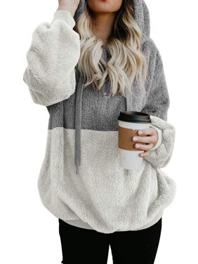 Product Image 711ONLINESTORE Women Fuzzy Fleece Drawstring Zipped Front  Long Sleeve Hoodies Outwear 02113229e