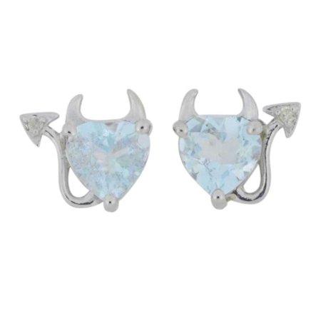 Aquamarine & Diamond Devil Heart Stud Earrings 14Kt White Gold 14kt 2 Tone Diamond Earrings