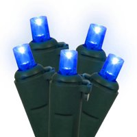 Set of 60 Blue LED Wide Angle Christmas Lights - Green Wire