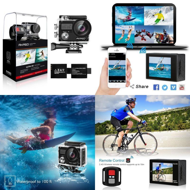 AKASO Brave 4 1080P 20MP WIFI 4K Outdoor Action Camera HD Waterproof Camcorder Diving Underwater Bike Helmet Video Cam for Extreme Sports