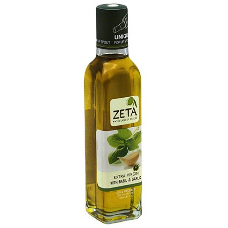 Zeta Extra Virgin Olive Oil with Basil & Garlic, 8.5 fl oz, (Pack of