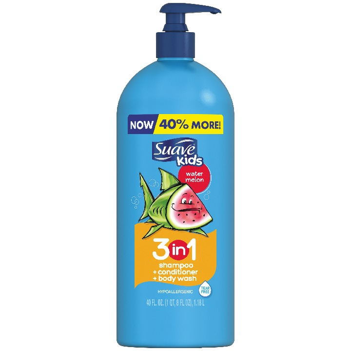 Suave Kids 3 in 1 Shampoo Conditioner Body Wash Watermelon 40 oz