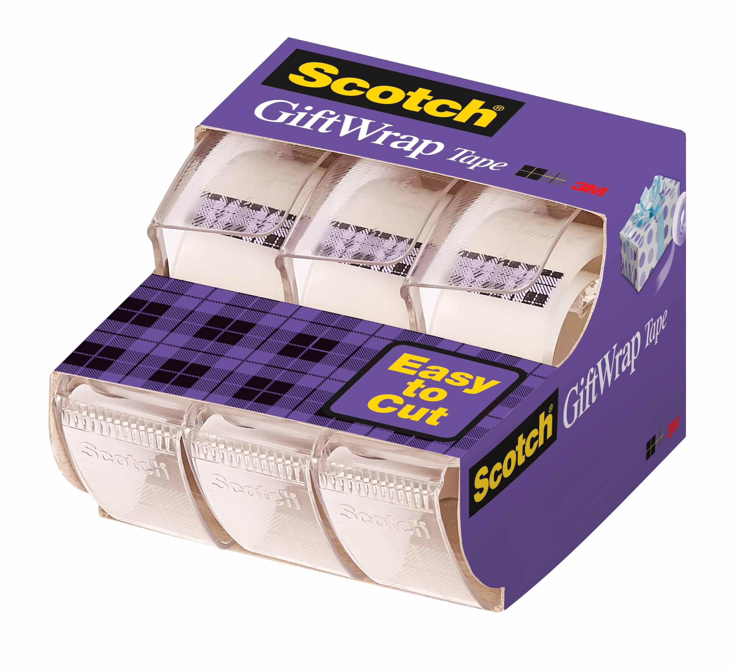 Scotch Gift Wrap Tape Dispensers 3 Pack, 3/4 in. x 325in. per Dispenser